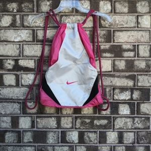 Nike pink backpack with pull string